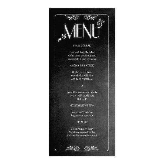 Black Chalkboard Elegant Slim Dinner Menu Personalized Rack