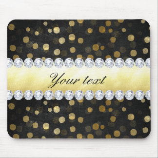 Black Chalkboard Gold Confetti Diamonds Mouse Pad