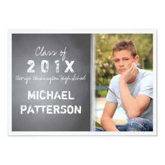 Black Chalkboard Graphic Guy Graduation Party 13 Cm X 18 Cm Invitation Card