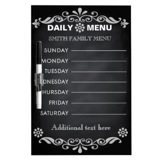 Black Chalkboard Kitchen Personalize Weekly Menu Dry Erase Board