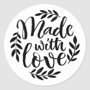 Black Chalkboard Lettering Made With Love Sticker