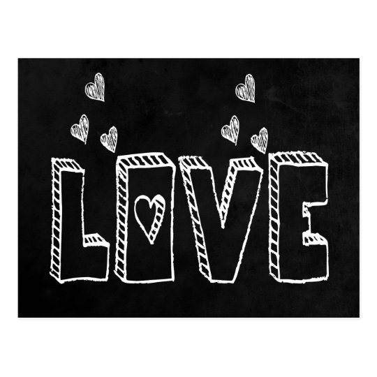 Black Chalkboard Love & Hearts Vintage Wedding Postcard