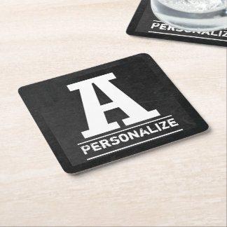 Black Chalkboard Monogram All Letters A-Z Square Paper Coaster