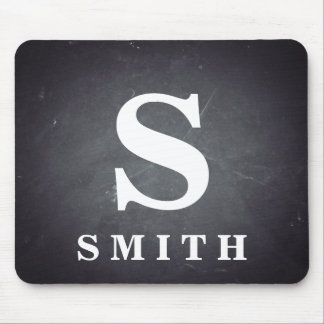 Black Chalkboard Personalized Monogram Mouse Pad