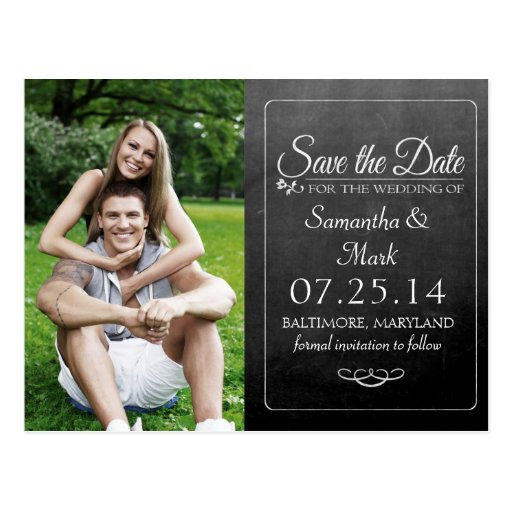 Black Chalkboard Photo Save the Date Postcard