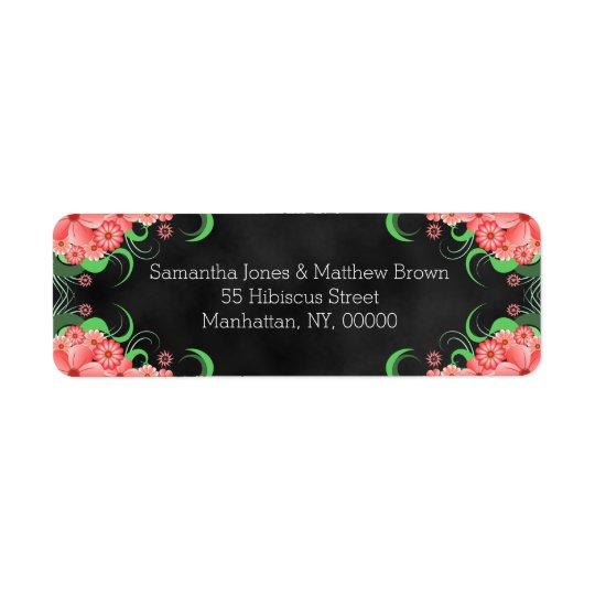 Black Chalkboard Pink Floral Return Address Labels