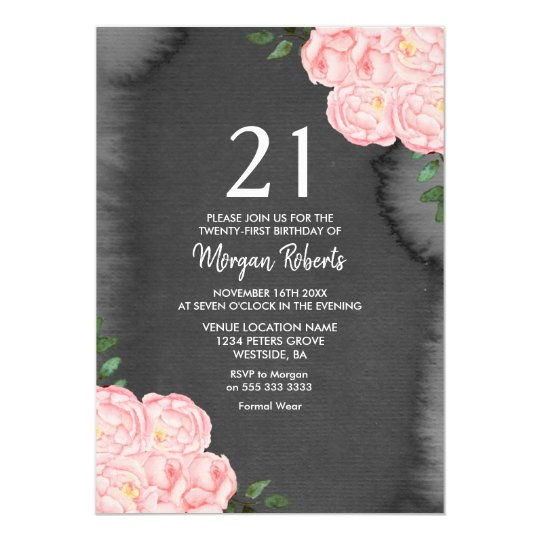Black Chalkboard Pink Rose 21st Birthday Invite Zazzlecouk