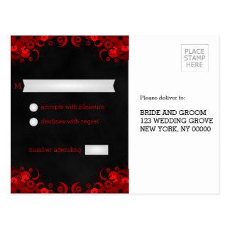 Black Chalkboard Red Floral RSVP Reply Postcards