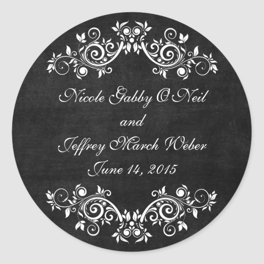 Black Chalkboard Rustic White Flourishes Wedding Classic Round