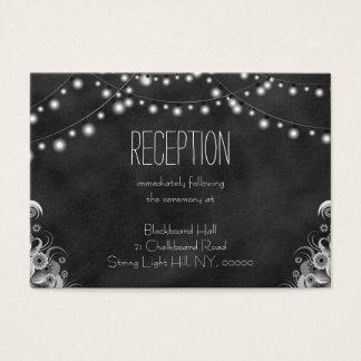 Black Chalkboard String Lights Reception Enclosure Business Card