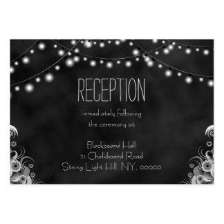 Black Chalkboard String Lights Reception Enclosure Pack Of Chubby Business Cards