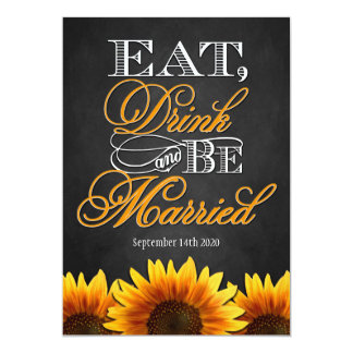 Black Chalkboard Sunflower Wedding Invitations