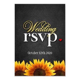 Black Chalkboard Sunflower Wedding RSVP Cards
