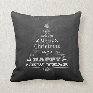 Black Chalkboard Wish You a Merry Christmas Tree Cushion