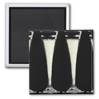 Black Champagne Flute Glass with Bubbles Design Square Magnet