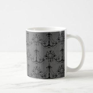 black chandelier damask pattern mug
