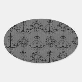 black chandelier damask pattern oval sticker
