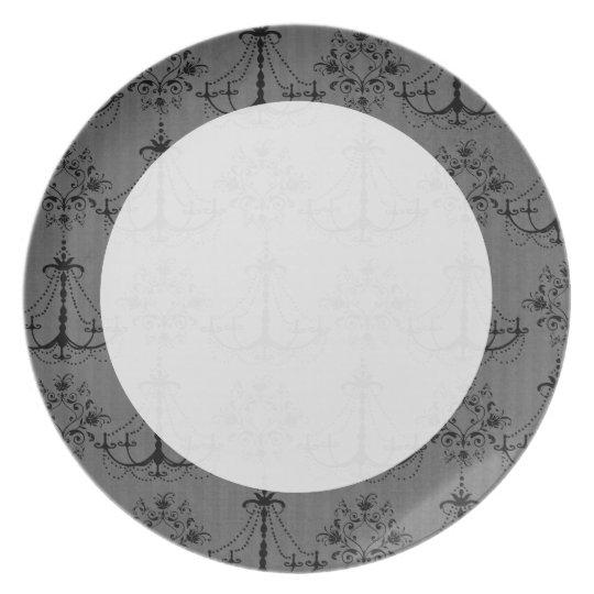 black chandelier damask pattern plate
