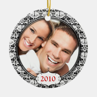 Black Chandelier Damask Photo Christmas Ornament