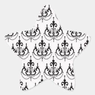 black chandelier on white modern damask design star sticker