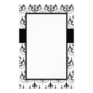 black chandelier on white modern damask stationery design