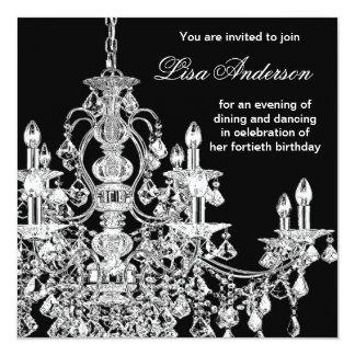 Black Chandelier Womans  40th Birthday Party 13 Cm X 13 Cm Square Invitation Card