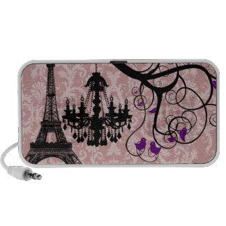 Black Chandeliers Damask Eiffel Tower Love Birds Laptop Speakers