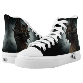 Black Chaos Dragon Custom Zipz High Top Kickers Printed Shoes