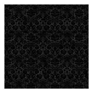 Black Charcoal Damask Posters
