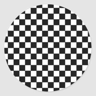 black check patterns classic round sticker