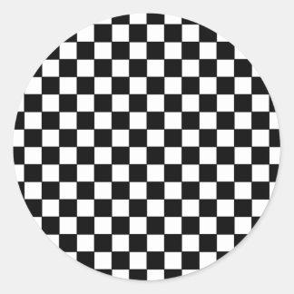 black check patterns round sticker