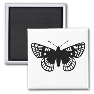 Black Checker Spot Butterfly Square Magnet