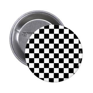 Black Checkered Mod Racing Pattern Pinback Buttons