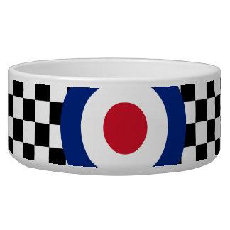 Black Checkered Mod Racing Pattern Dog Water Bowls