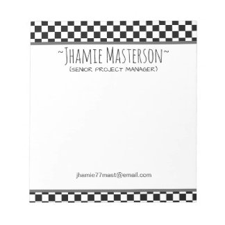 Black Checkered Notepad