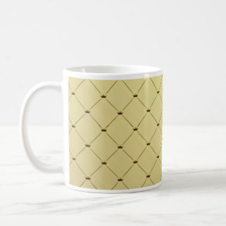 Black checkered pattern on yellow texture basic white mug