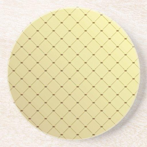 Black checkered pattern on yellow texture beverage coaster