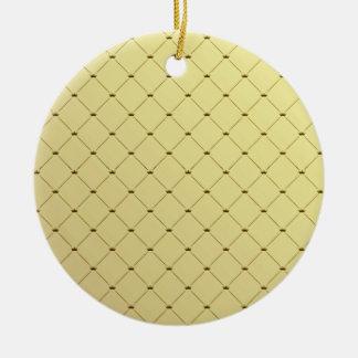 Black checkered pattern on yellow texture round ceramic decoration