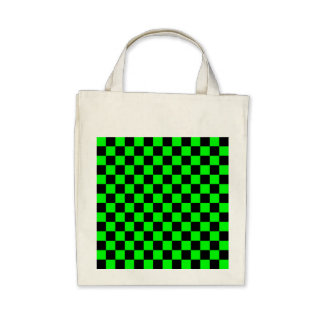 Black checkers on neon green background canvas bags