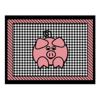 Black Checks Pink Piggy Card Postcard