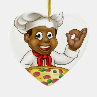 Black Chef Cartoon Character Mascot Ceramic Heart Decoration