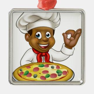 Black Chef Cartoon Character Mascot Silver-Colored Square Decoration