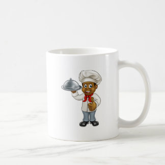 Black Chef Cartoon Character with Platter Coffee Mug