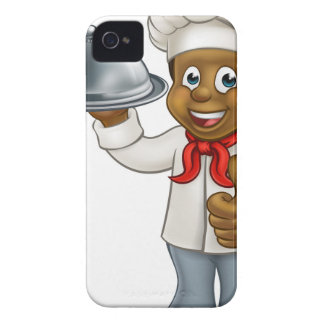 Black Chef Cartoon Character with Platter iPhone 4 Case-Mate Cases