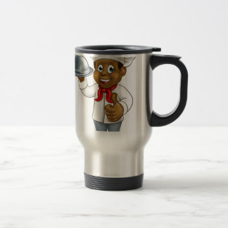 Black Chef Cartoon Character with Platter Travel Mug