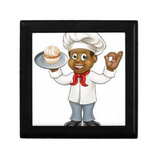 Black Chef or Baker Cartoon Gift Box