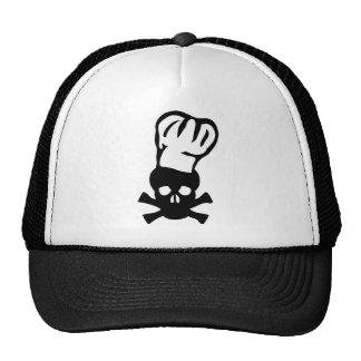 black chef skull chefs head cook cap