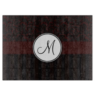 Black Cherry Floral Wisps & Stripes with Monogram Cutting Boards