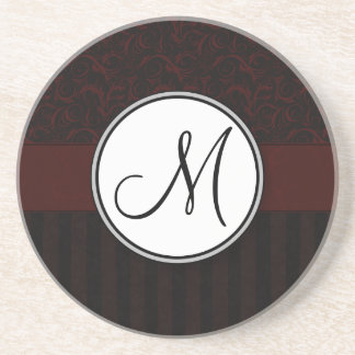 Black Cherry Floral Wisps & Stripes with Monogram Coaster