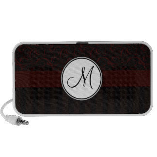 Black Cherry Floral Wisps & Stripes with Monogram iPod Speakers